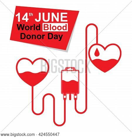World Blood Donor Day, June 14th. Medical Banner. Blood Donation Concept. Save Life. Vector Illustra