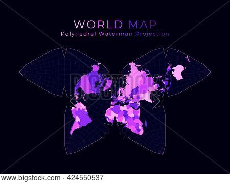 World Map. Steve Waterman's Butterfly Projection. Digital World Illustration. Bright Pink Neon Color