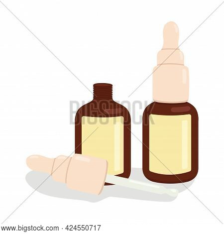 Vector Illustratio Of Two Serum Bottles And A Dropper. Flat Cosmetic Product - Glass Bottle Of Skin