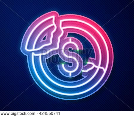 Glowing Neon Line Dollar Rate Decrease Icon Isolated On Blue Background. Cost Reduction. Money Symbo