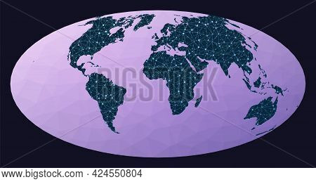 Internet And Global Connections Map. Hammer Projection. World Network Map. Wired Globe In Hammer Pro