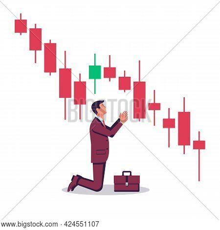 Market Finance Fall. Financial Graph Down. Businessman Kneeling In Front Of A Falling Market. Financ