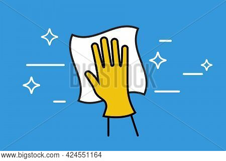 Landing Page Cleaning Service. Black Outline Icon. Hand In Glove With A Rag. Cleanliness And Shine.