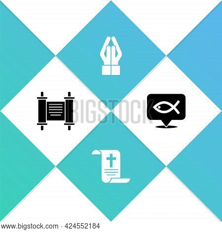 Set Decree, Paper, Parchment, Scroll, , Hands In Praying Position And Christian Fish Icon. Vector