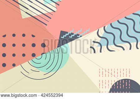 Abstract Geometric Horizontal Background. Multi-colored Diagonals And Intersections. A Pattern Of Fi