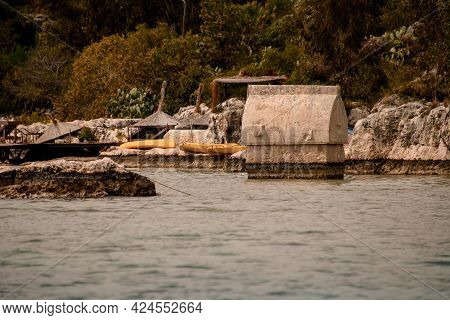 View Of Kekova Ancient Lycian City With A Big Sarcophagus In The Sea.