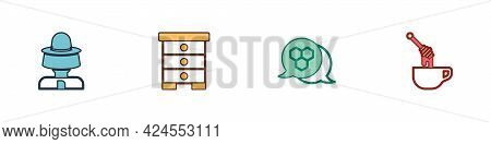 Set Beekeeper With Protect Hat, Hive For Bees, Honeycomb And Dipper Stick Honey Icon. Vector