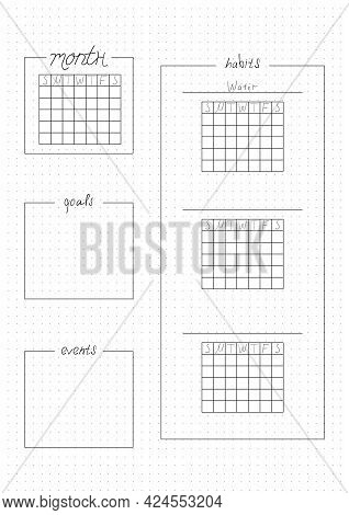 Printable A4 Paper Sheet, Bullet Journal Page For Month Planner Blank And To Fill Fulfilled Habits.