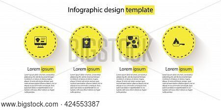 Set Online Ordering And Delivery, Cookbook, Cheese And Frying Pan. Business Infographic Template. Ve
