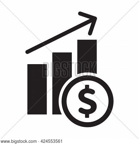 Income Graph Vector Icon Financial Stack Symbol For Graphic Design, Logo, Web Site, Social Media, Mo