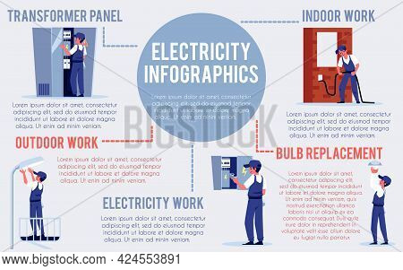 Banner Or Infographic With Electricians Workers, Flat Vector Illustration.