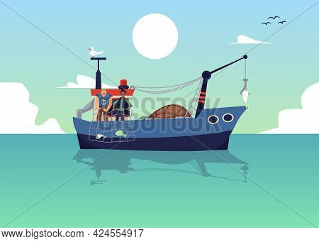 Seascape With Fishermen Trawling Fish With Net, Flat Vector Illustration.
