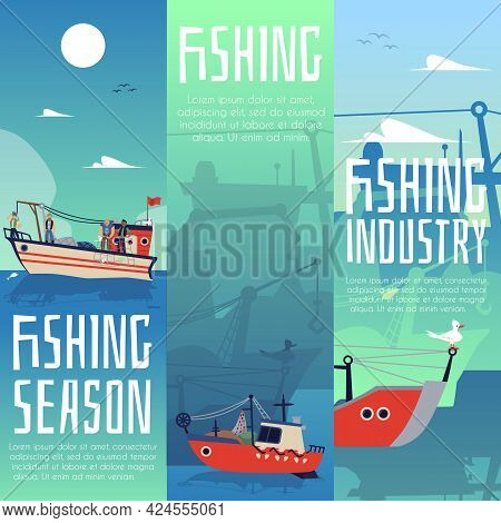 Set Vertical Banners Or Posters For Fishing Industry Flat Vector Illustration.