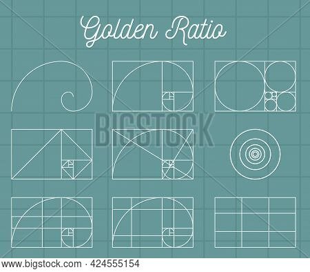 Spirals And Geometric Shapes With Golden Ratio, Vector Illustration Isolated.