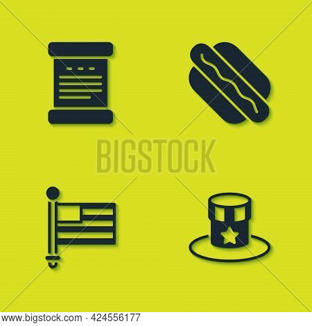 Set Declaration Of Independence, Patriotic American Top Hat, Flag And Hotdog Sandwich Icon. Vector