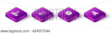 Set Isometric Airport Control Tower, Radar, Plane Propeller And Pilot Hat Icon. Vector