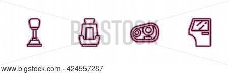 Set Line Gear Shifter, Car Headlight, Seat And Door Icon. Vector