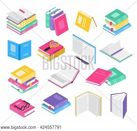 Isometric 3d Books. Open And Closed School Textbooks With Bookmarks, Book Stacks. Academic Literatur