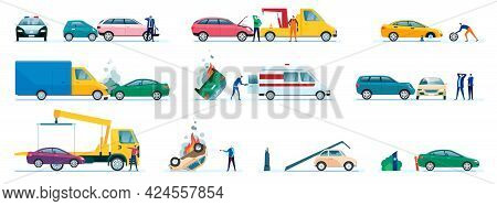 Car Accidents. Damaged Or Crashed Transport, Vehicles Collision. Driver Calling Insurance Company. R