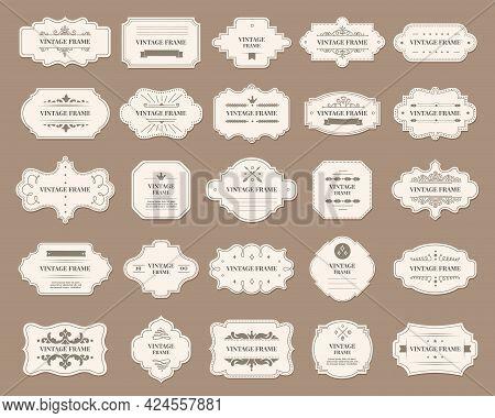 Ornamental Label Frames. Old Ornate Labels, Decorative Vintage Frame And Retro Badge. Royal Wedding