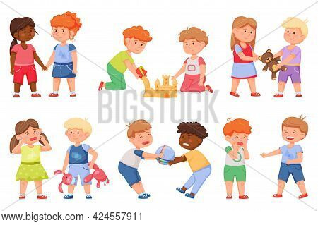 Kids Good And Bad Behavior. Friends Sharing Toys, Playing Together, Holding Hands. Angry Children Fi