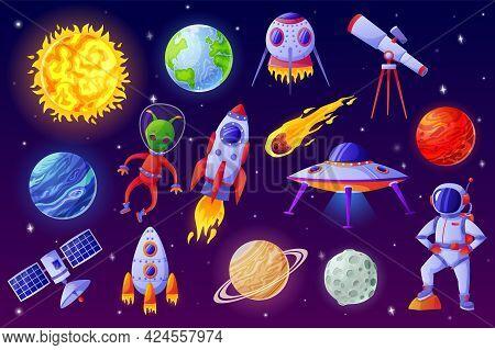 Cartoon Space Elements. Alien, Ufo Spaceship, Rocket, Astronaut, Asteroid, Satellite, Telescope. Col