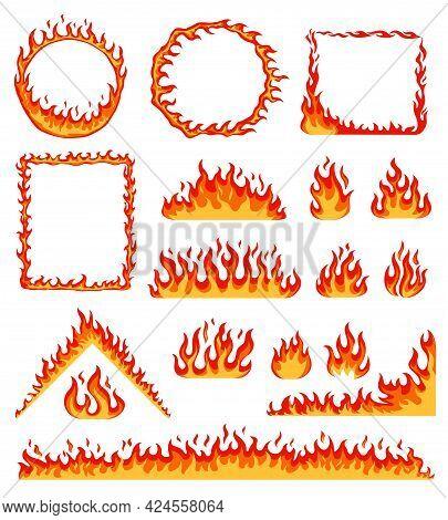 Cartoon Fire Frame. Red Hot Burning Circle And Rectangular Frames. Horizontal Flame Border, Campfire