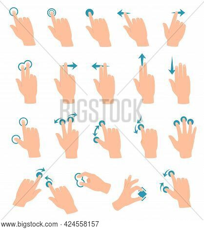 Touch Screen Gestures. Tablet Or Smartphone Hand Gesture Swipe, Touch, Click, Zoom. Cartoon Touchscr