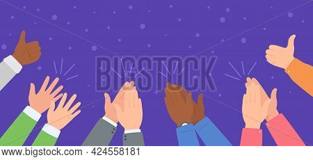 Hand Clapping. Diverse Team Celebrating Success. People Applause And Giving Thumb Up. Winning, Celeb
