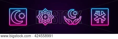 Set Line Star And Crescent, Octagonal Star, And Ramadan Fasting. Glowing Neon Icon. Vector
