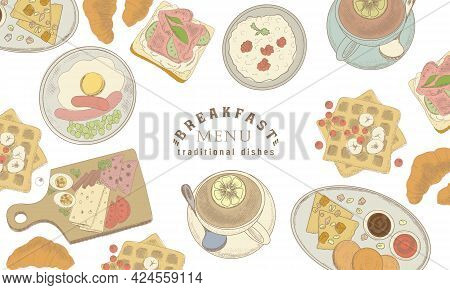 Traditional Breakfast Dishes. Eggs And Sausage With Cheese. Fried Eggs With Sausage. Porridge, Waffl
