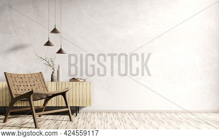 Modern Interior Of Living Room With Wooden Cabinet And Armchair, Home Design, Stucco Wall With Copy