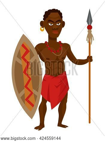 African Tribal Warrior Holding Shield And Spear. Male Character In Cartoon Style.