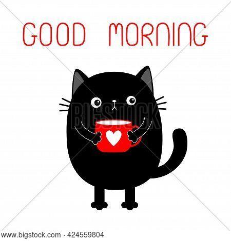 Cat Kitten Holding Coffee Cup Heart. Good Morning. Sad Grumpy Bad Emotion Face. Cute Cartoon Kitty C