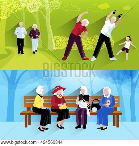 Elderly People Banners Set. Elderly People Vector Illustration. Elderly People Concept. Elderly Peop