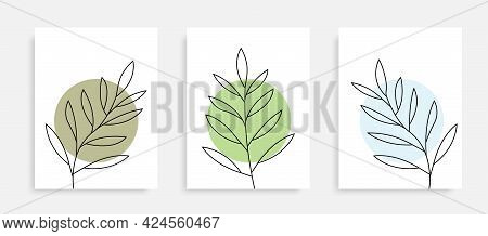 Countinuous Line Drawing Leaves Posters. One Line Plants Collection. Nature Concept Posters Set. Bot