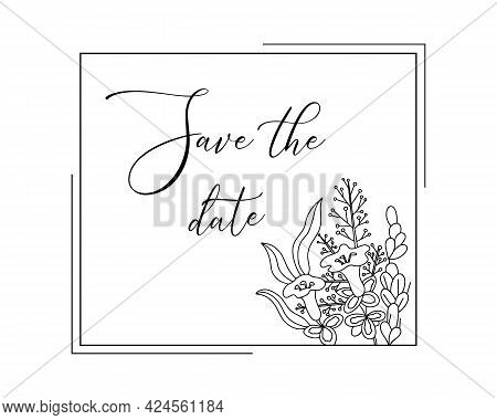 Frame With Simple Flower Branches. Plant With Wildflowers And Leaves. Hand Drawn Line Drawing. Vecto