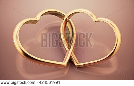Two Attached Heart Shaped Rings Standing On Pink Background. 3d Illustration.