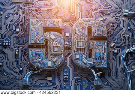 5G technology development, semiconductor productivity growth concept backgound. 5G chip on computer matherboard. 3d illustration