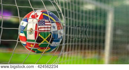 Soccer Football ball with flags of North America countries in net on football stadium. North America concacaf championship 2021. 3d illustration