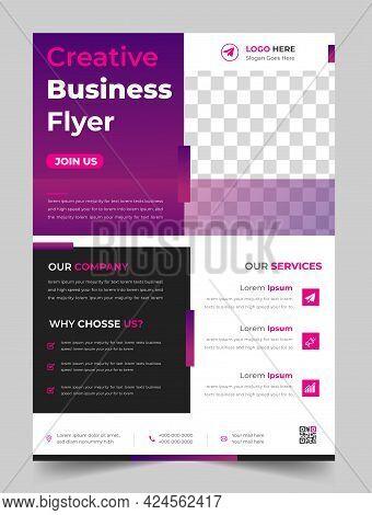 Corporate Business Flyer Template Design Purple Color. Marketing, Business Proposal, Promotion, Adve