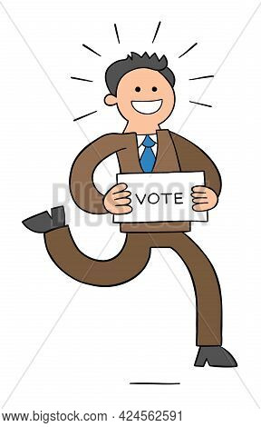 Cartoon Politician Running With A Paper That Says Vote, Vector Illustration. Colored And Black Outli