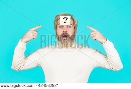 Beard Man Question Mark In Head, Solution Problems. Thinking Man With Question Mark On Blue Backgrou