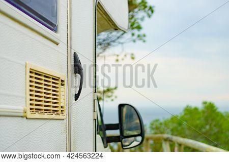Camper Car Detail. Grid, Ventilation Plate For Fridge. Caravan Vacation.