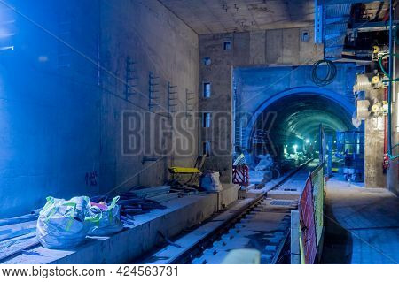 Tel-aviv, Israel - June 17, 2021: View Of Subway Station Construction Site, In Tel-aviv, Israel