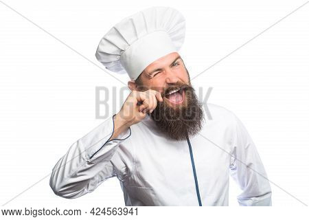 Portrait Of A Happy Chef Cook. Cook Hat. Bearded Chef, Cooks Or Baker. Bearded Male Chefs Isolated O