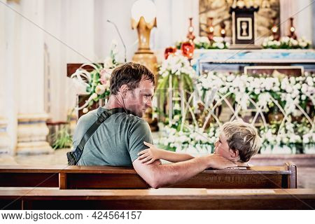 Christian Dad Tells Child Bible Story About Jesus Holy People, Sit In Kirk. Faith Religious Educatio