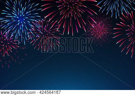 National Holiday Of The Usa. Starry Sky Background With Fireworks In Colors Of American Flag. 4th Ju