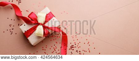 Red Beige Theme Craft Gift Box Present Gift With Bright Red Ribbon And Confetti Star Shape, Holiday,