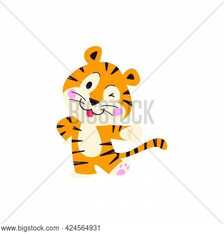 Cute Little Tiger Character With Thumb Up Stand, Smile Isolated On White Background. Vector Flat Han